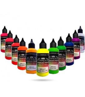 Serie Fluorescent – 12 Acryl-PU verven voor airbrush